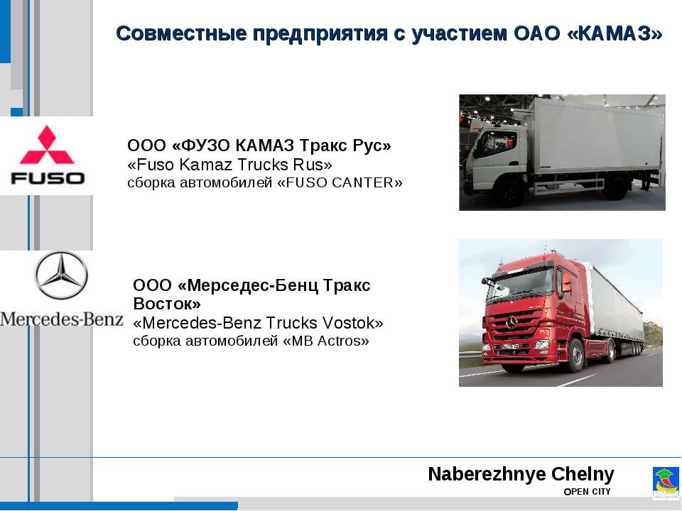 Совместные предприятия с участием ОАО «КАМАЗ» Naberezhnye Chelny OPEN CITY ОО...