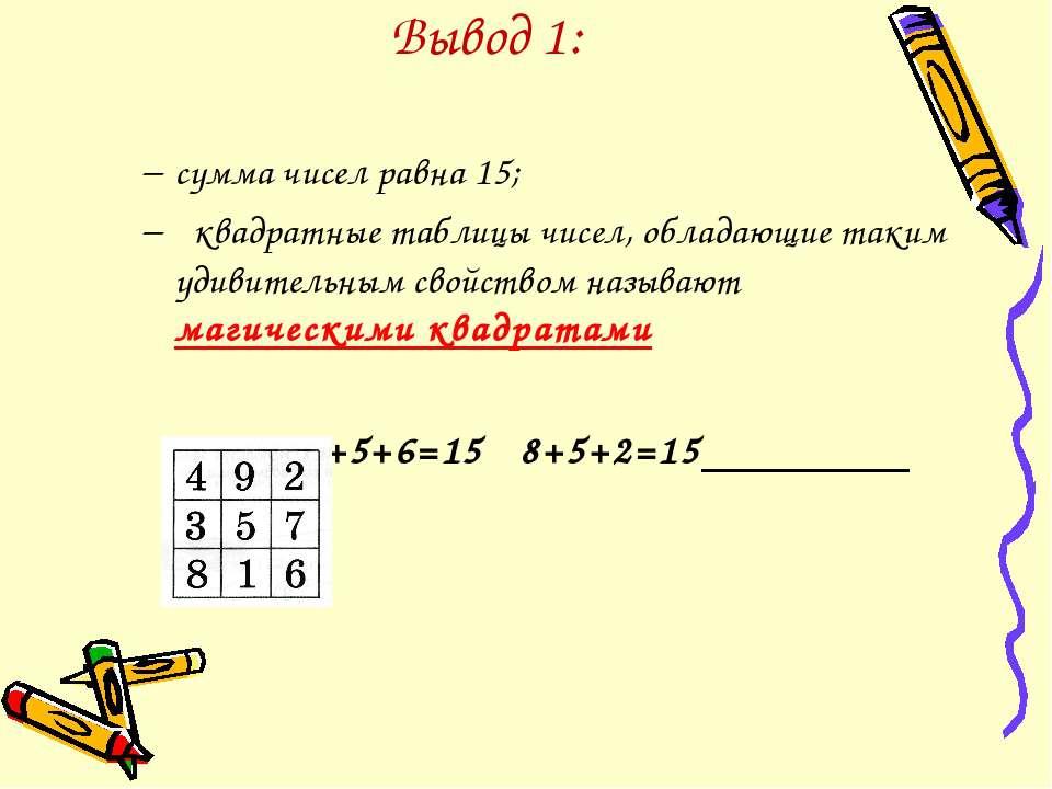 Вывод 1: сумма чисел равна 15; квадратные таблицы чисел, обладающие таким уди...