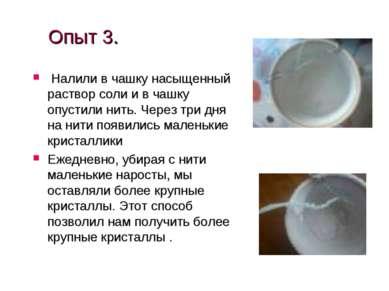 Опыт 3. Налили в чашку насыщенный раствор соли и в чашку опустили нить. Через...