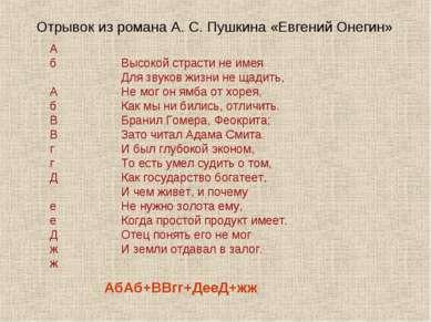 Отрывок из романа А. С. Пушкина «Евгений Онегин» АбАб+ВВгг+ДееД+жж Высокой ст...