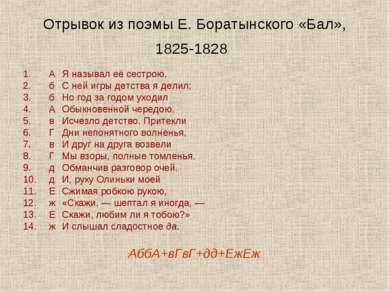 Отрывок из поэмы Е. Боратынского «Бал», 1825-1828 А Я называл её сестрою, б С...
