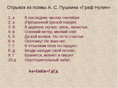 Отрывок из поэмы А. С. Пушкина «Граф Нулин» а а Б в Б в Г д Г д В последних ч...