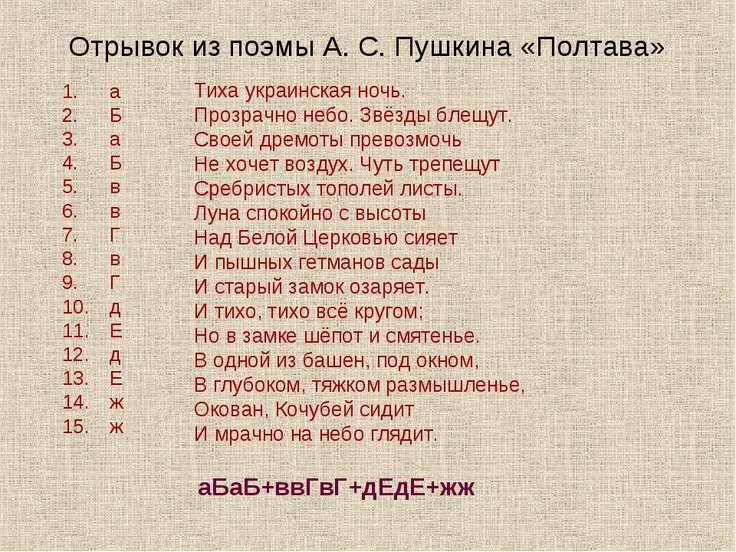 Отрывок из поэмы А. С. Пушкина «Полтава» Тиха украинская ночь. Прозрачно небо...