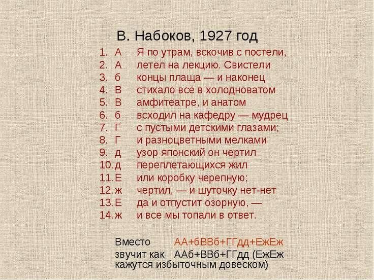 В. Набоков, 1927 год А Я по утрам, вскочив с постели, А летел на лекцию. Свис...