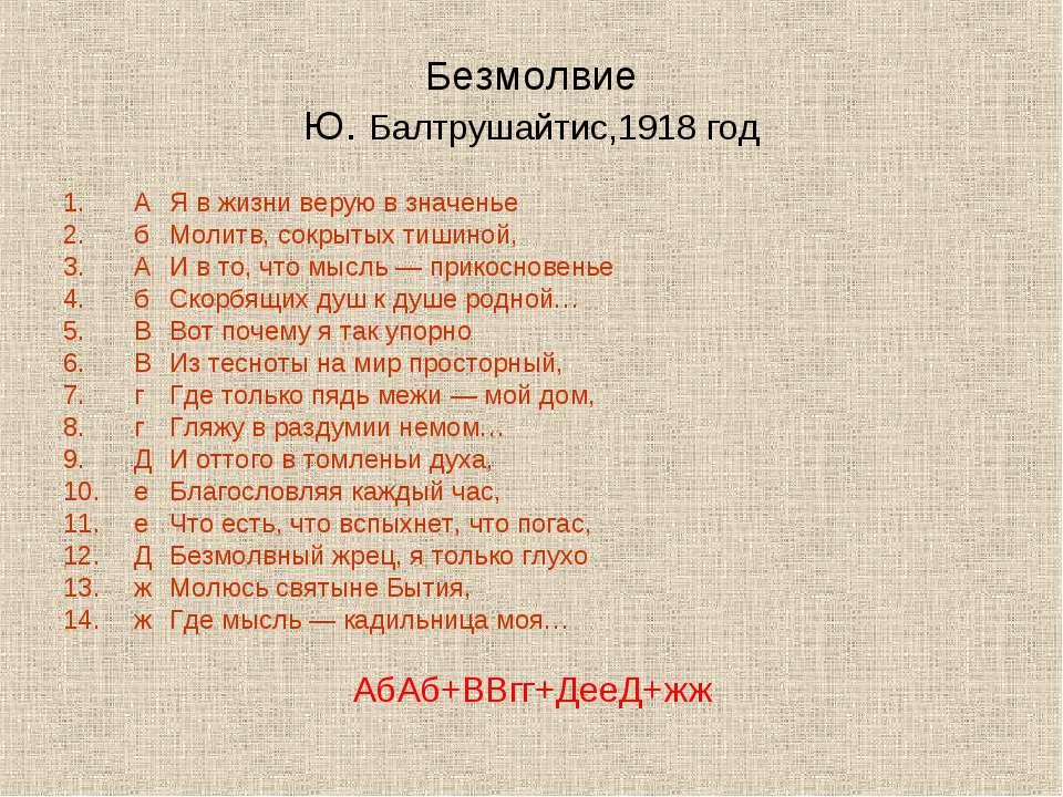Безмолвие Ю. Балтрушайтис,1918 год А Я в жизни верую в значенье б Молитв, сок...