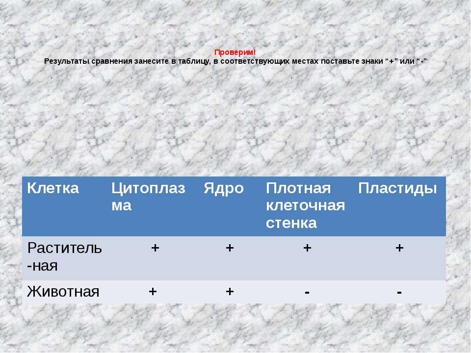 Проверим! Результаты сравнения занесите в таблицу, в соответствующих местах п...