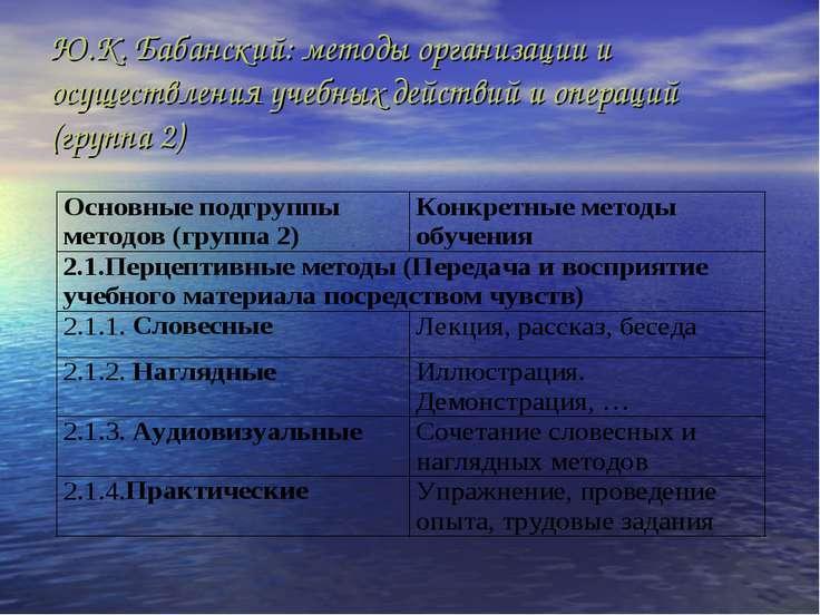 Ю.К. Бабанский: методы организации и осуществления учебных действий и операци...