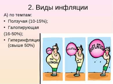 2. Виды инфляции А) по темпам: Ползучая (10-15%); Галопирующая (16-50%); Гипе...