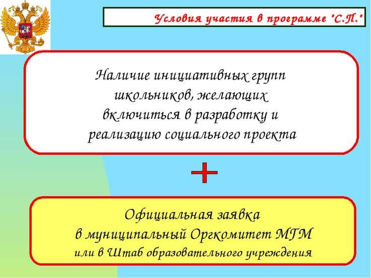 """Условия участия в программе """"С.П."""" Наличие инициативных групп школьников, жел..."""