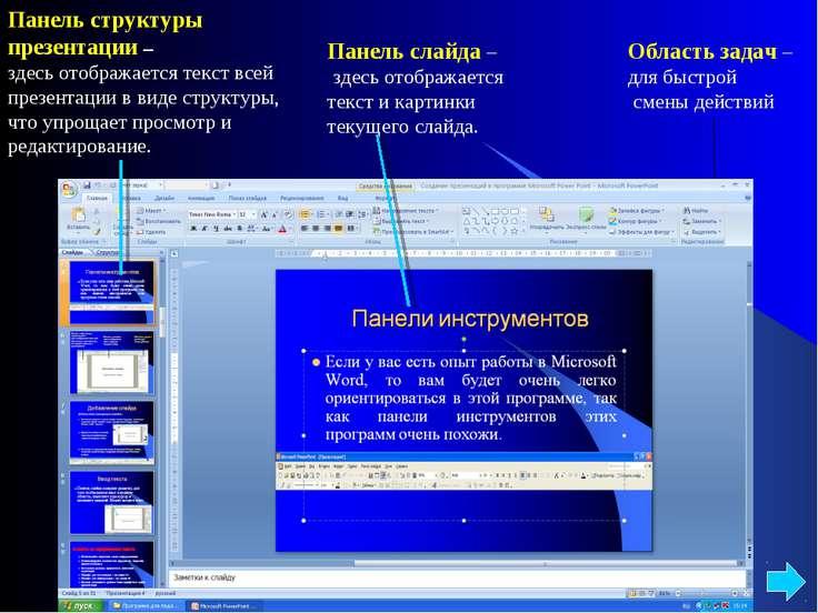 Панель структуры презентации – здесь отображается текст всей презентации в ви...
