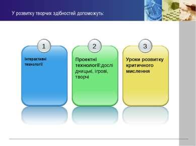 У розвитку творчих здібностей допоможуть: 1 Інтерактивні технології 2 Проектн...