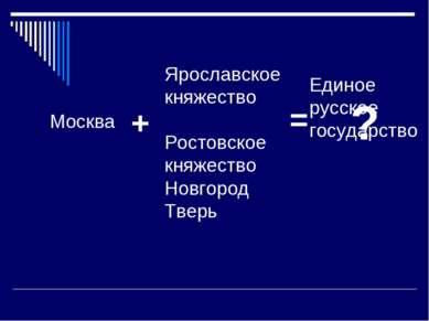 Москва + Ярославское княжество Ростовское княжество Новгород Тверь = ? Единое...
