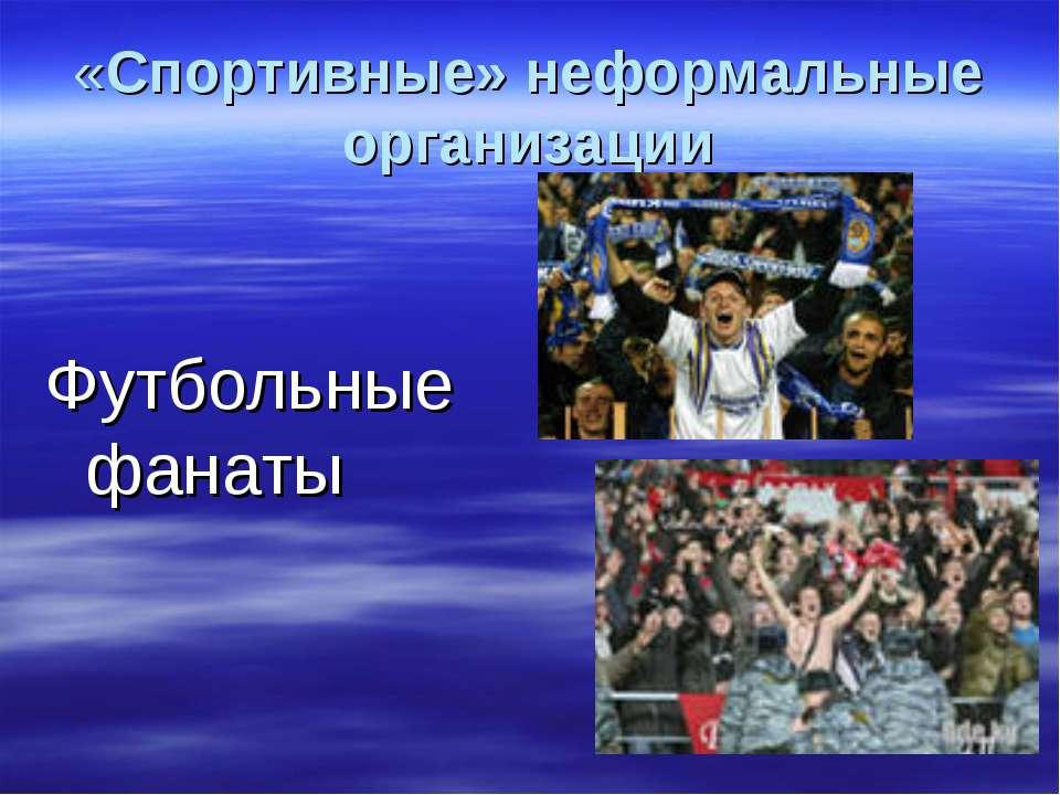 «Спортивные» неформальные организации Футбольные фанаты