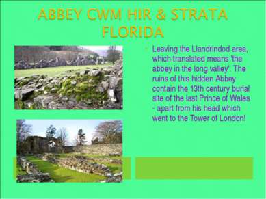 Leaving the Llandrindod area, which translated means 'the abbey in the long v...