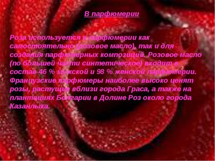 В парфюмерии Роза используется в парфюмерии как самостоятельно (розовое масло...
