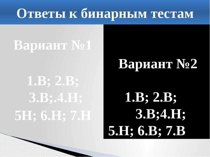 Вариант №1 1.В; 2.В; 3.В;.4.Н; 5Н; 6.Н; 7.Н Вариант №2 1.В; 2.В; 3.В;4.Н; 5.Н...