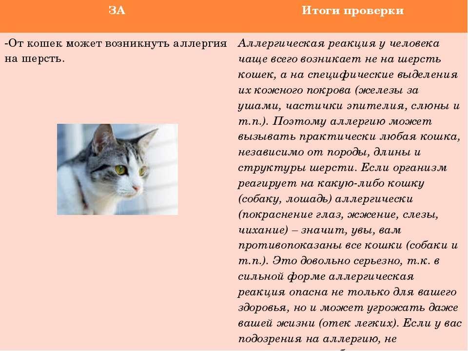 ЗА Итоги проверки -От кошек может возникнуть аллергия на шерсть. Аллергическа...