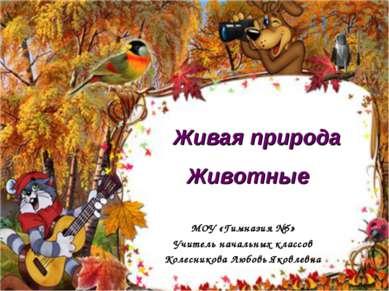 Живая природа Животные МОУ «Гимназия №5» Учитель начальных классов Колесников...