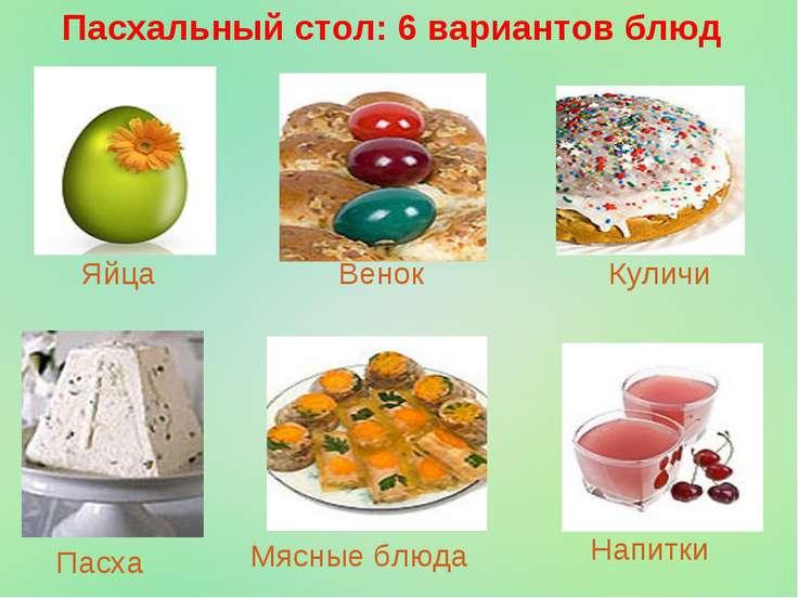 Пасхальный стол: 6 вариантов блюд Яйца Венок Куличи Пасха Мясные блюда Напитки