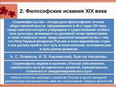 2. Философские искания XIX века Славянофи льство- литературно-философское те...