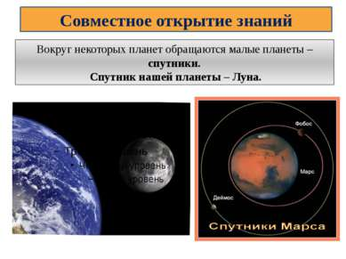 Совместное открытие знаний Вокруг некоторых планет обращаются малые планеты –...