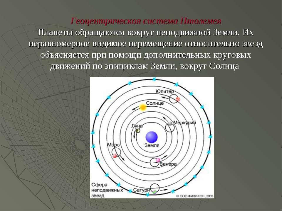 Геоцентрическая система Птолемея Планеты обращаются вокруг неподвижной Земли....