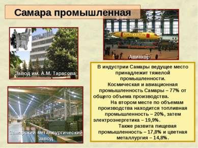 В индустрии Самары ведущее место принадлежит тяжелой промышленности. Космичес...