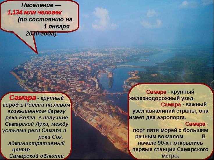 САМАРА Самара расположена на левом берегу реки Волга, в 1054 км от Москвы Нас...