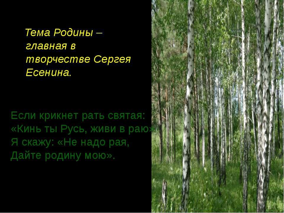 Тема Родины – главная в творчестве Сергея Есенина. Если крикнет рать святая: ...