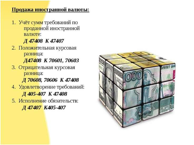 Продажа иностранной валюты: 1. Учёт сумм требований по проданной иностранной ...