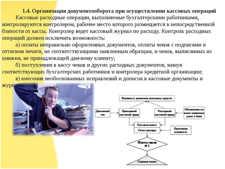 1.4. Организация документооборота при осуществлении кассовых операций Кассовы...
