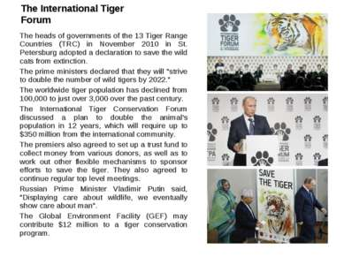 The International Tiger Forum The heads of governments of the 13 Tiger Range ...