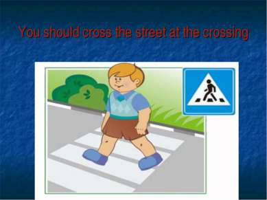 You should cross the street at the crossing