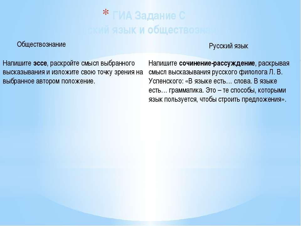 ГИА Задание С Русский язык и обществознание Обществознание Русский язык Напиш...