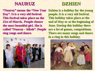 "NAURUZ ""Nauruz"" means the ""New Year Day"". It is a very old festival. This fes..."