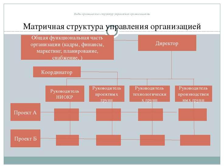 Виды органических структур управления организациями Матричная структура управ...
