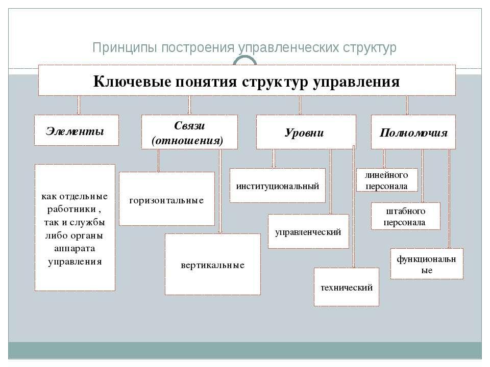 Принципы построения управленческих структур Ключевые понятия структур управле...