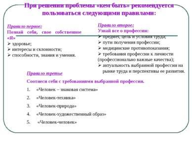 При решении проблемы «кем быть» рекомендуется пользоваться следующими правила...