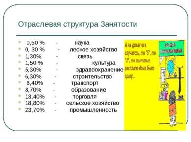 Отраслевая структура Занятости 0,50 % - наука 0, 30 % - лесное хозяйство 1,30...