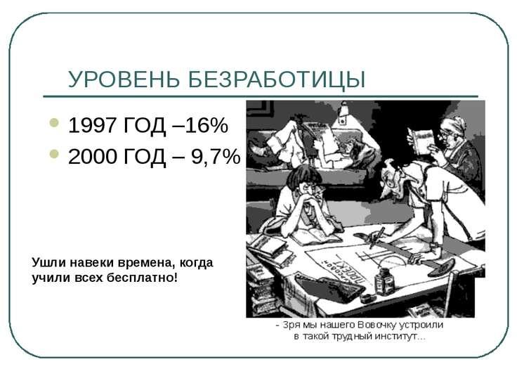 УРОВЕНЬ БЕЗРАБОТИЦЫ 1997 ГОД –16% 2000 ГОД – 9,7% Ушли навеки времена, когда ...