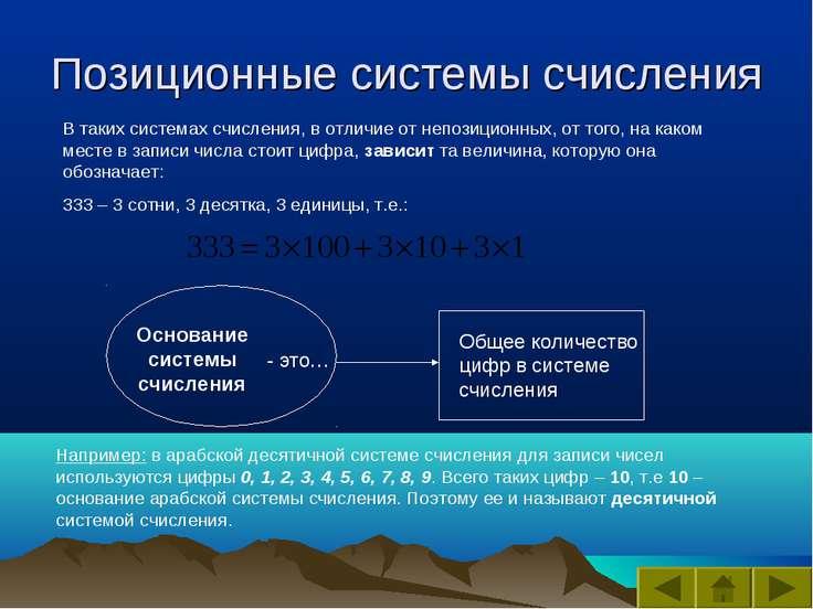 Позиционные системы счисления В таких системах счисления, в отличие от непози...