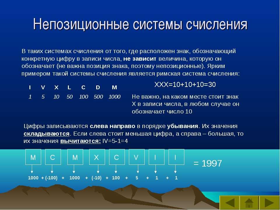 Непозиционные системы счисления В таких системах счисления от того, где распо...