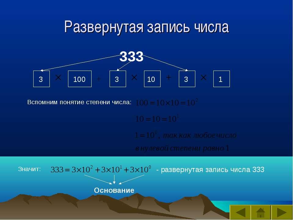 Развернутая запись числа 333 100 10 Вспомним понятие степени числа: Значит: -...