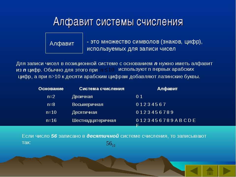 Алфавит системы счисления - это множество символов (знаков, цифр), используем...