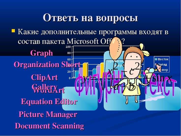 Ответь на вопросы Какие дополнительные программы входят в состав пакета Micro...