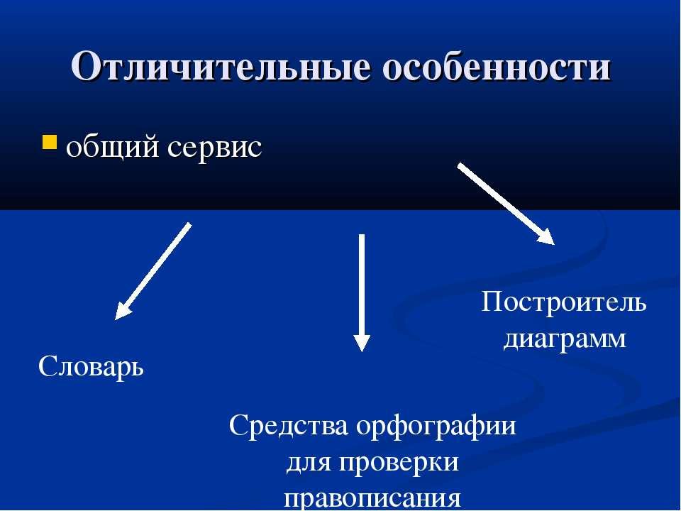Отличительные особенности общий сервис Словарь Средства орфографии для провер...
