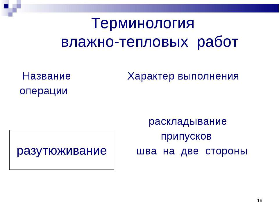 * Терминология влажно-тепловых работ разутюживание Название операции Характер...