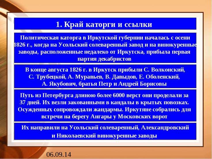 1. Край каторги и ссылки Политическая каторга в Иркутской губернии началась с...