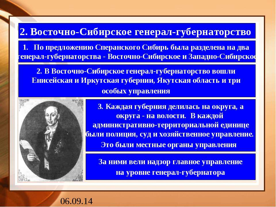 2. Восточно-Сибирское генерал-губернаторство По предложению Сперанского Сибир...