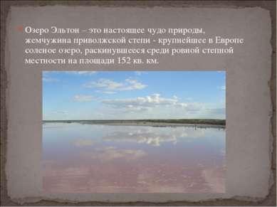 Озеро Эльтон – это настоящее чудо природы, жемчужина приволжской степи - круп...